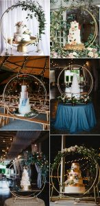 wedding cakes display ideas with hoop stands