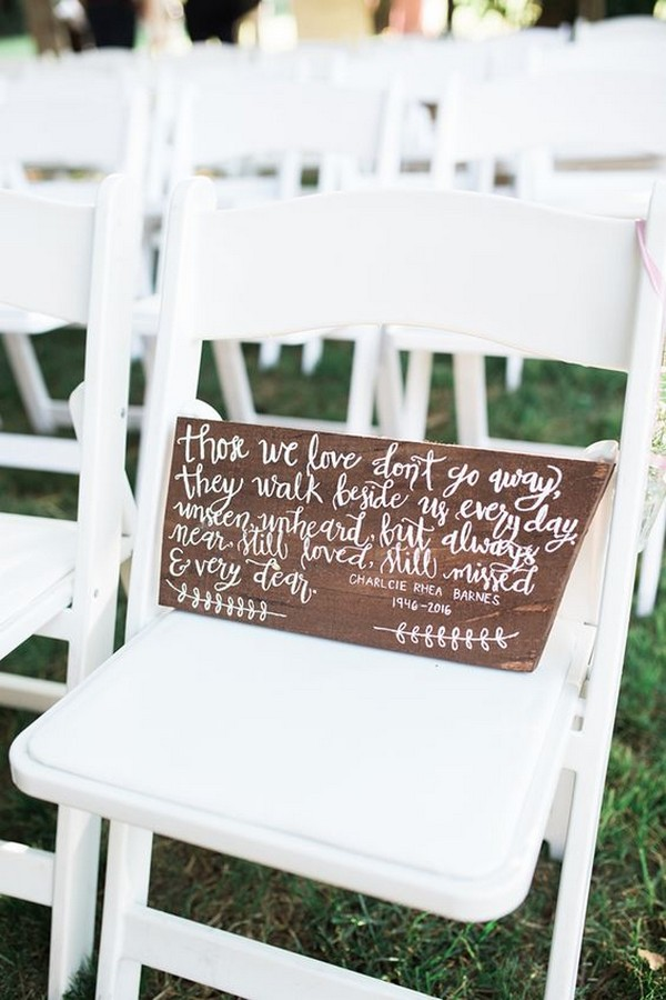 wedding sign to remember loved ones