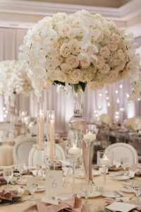 whimsical roses tall wedding centerpieces