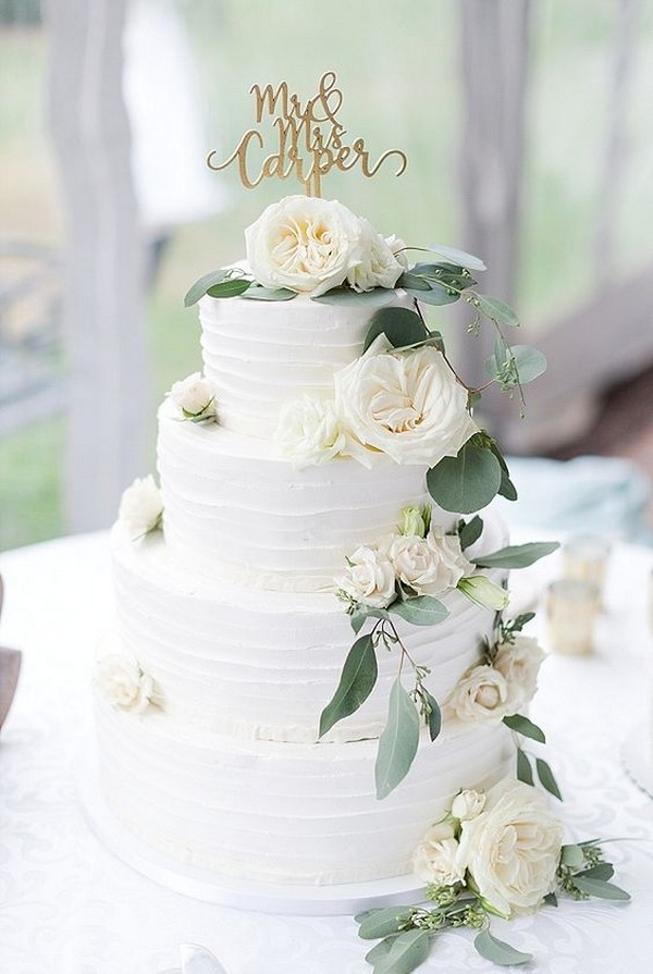 white and green simple wedding cake