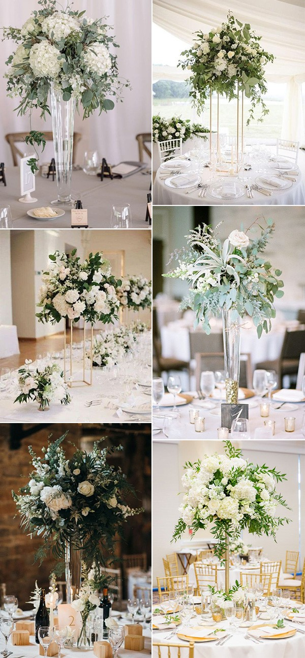 white and greenery tall wedding centerpieces