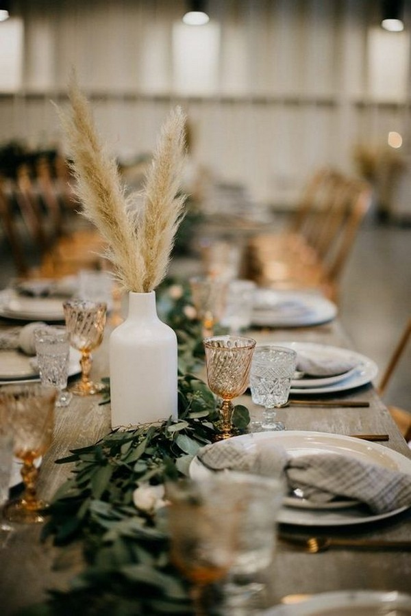 Boho Pampas Grass fall wedding centerpieces