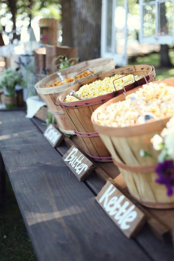DIY popcorn bar for backyard wedding receptions