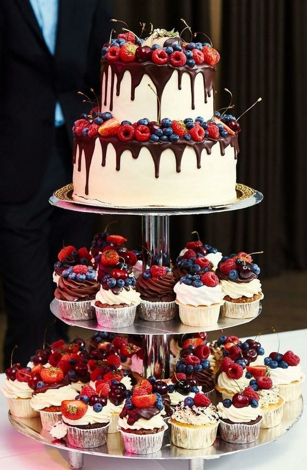 Dripped Strawberry Chocolate Wedding Cake and Cupcakes