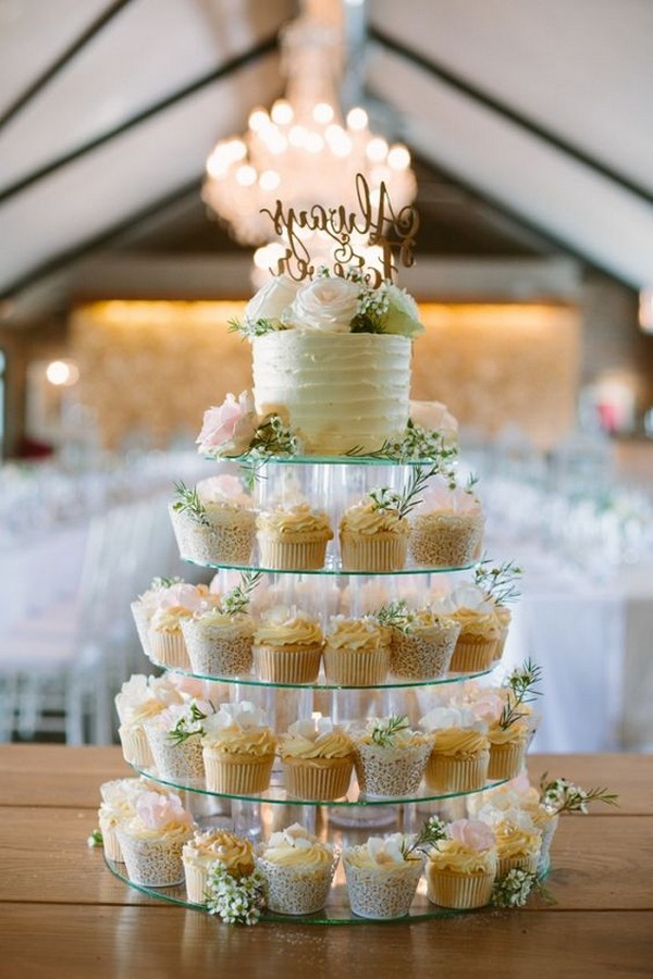 Wedding Cupcake Tower with a One Tier Cutting Cake