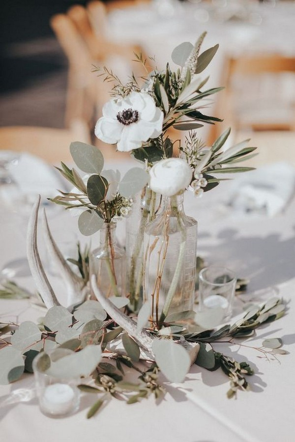anemones and eucalyptus fall wedding centerpiece