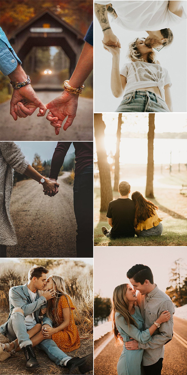 autumn sweet engagement photo pose ideas