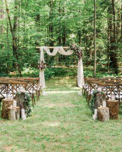 backyard rustic wedding aisle ideas