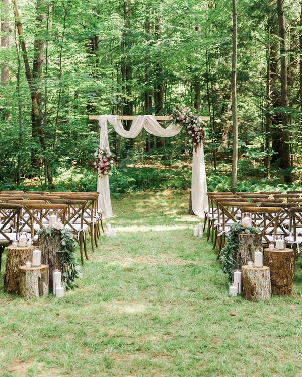 backyard rustic wedding aisle ideas
