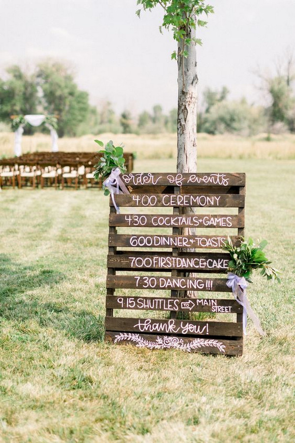 backyard wedding ceremony ideas with wooden sign