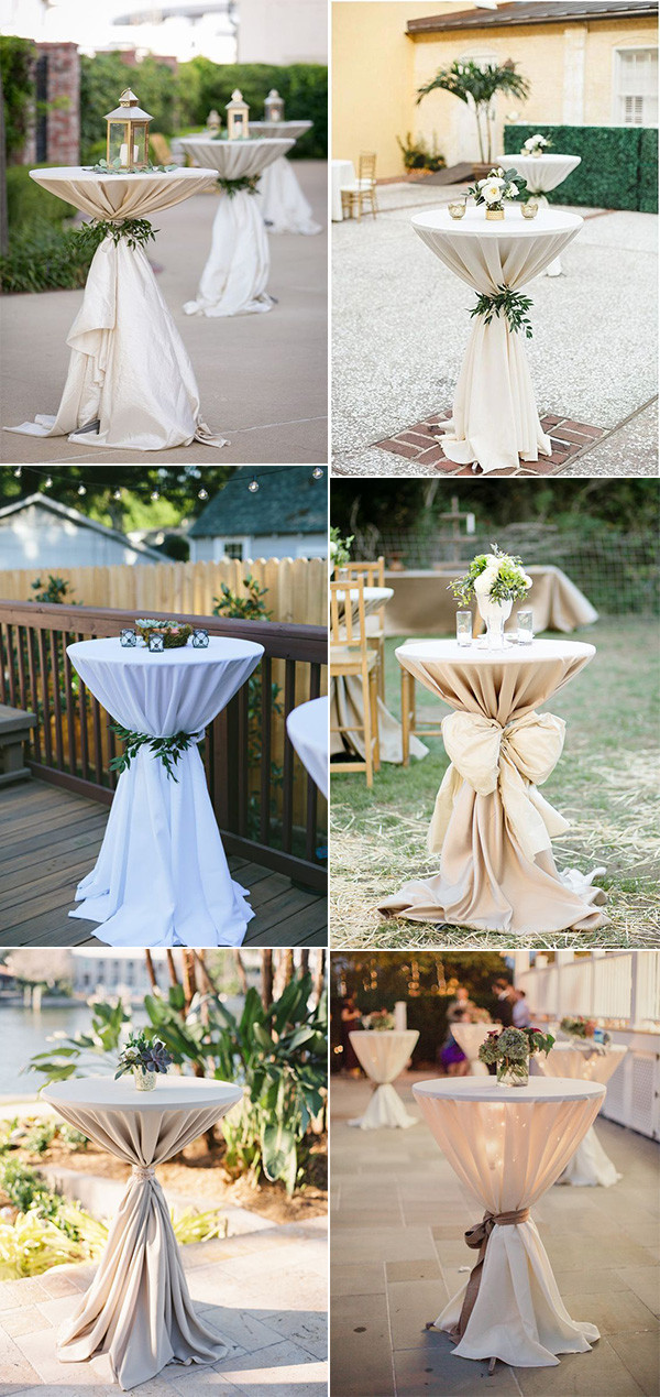 backyard wedding cocktail table decoration ideas
