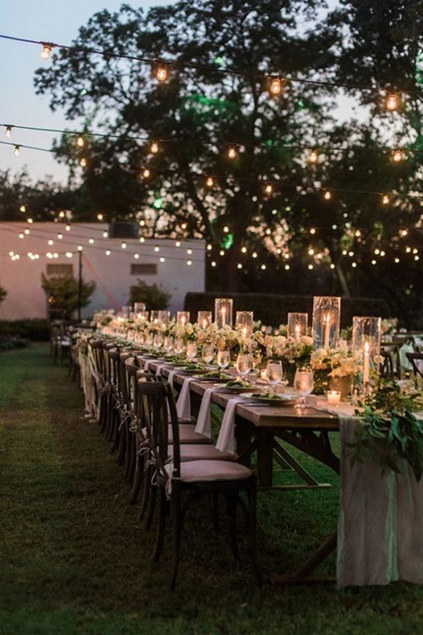 backyard wedding reception decoration ideas with string lights