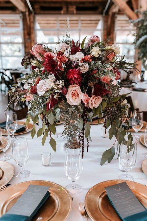 blush and burgundy fall wedding centerpiece ideas