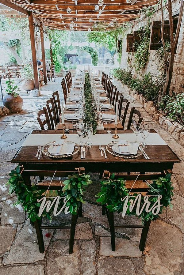 boho chic bride and groom wedding chairs
