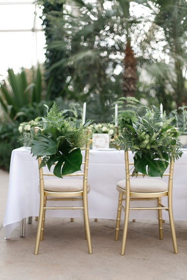 botanical bride and groom wedding chair ideas