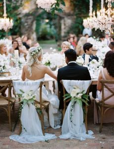 bride and groom chic wedding chair decoration ideas