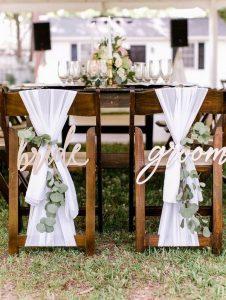 bride and groom wedding chair decoration ideas