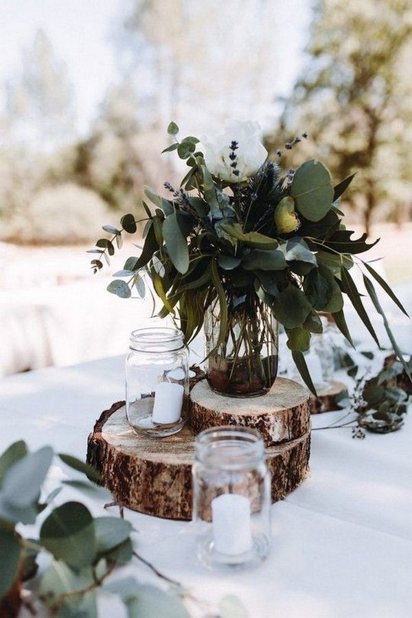 budget friendly simple rustic wedding centerpiece