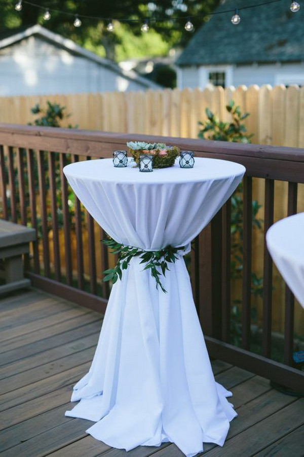 chic backyard wedding reception cocktail table ideas