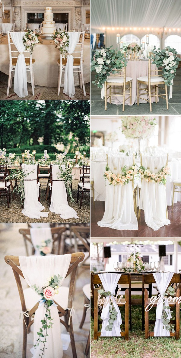 chic elegant bride and groom wedding chair ideas