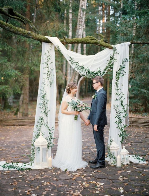 chic greenery and white drapery wedding backdrop ideas