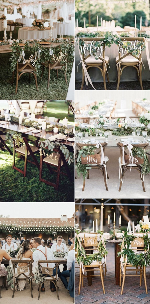 chic greenery wedding chair decoration ideas