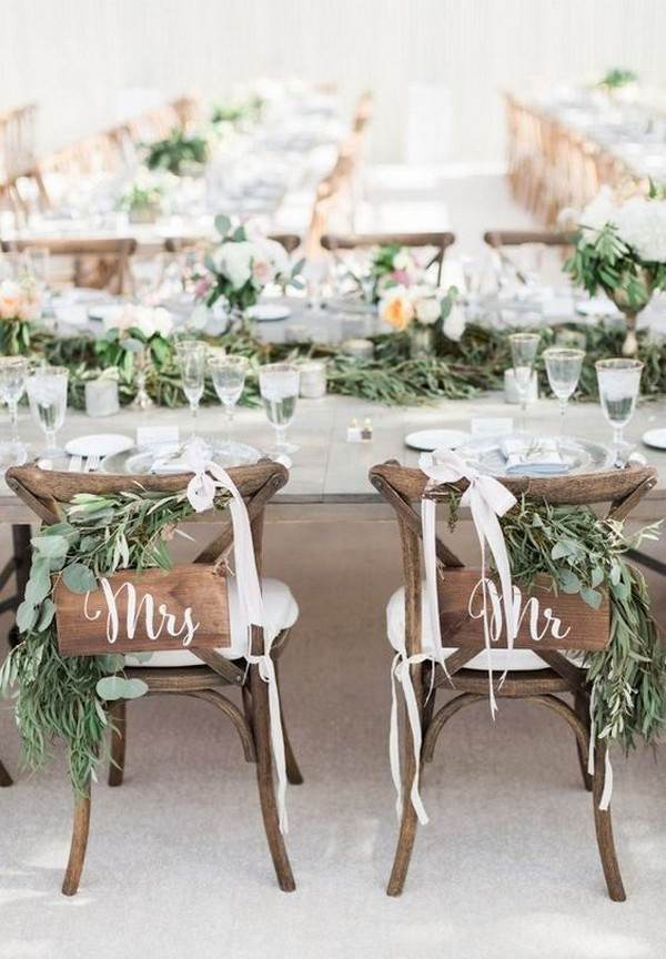 chic rustic bride and groom wedding chair ideas