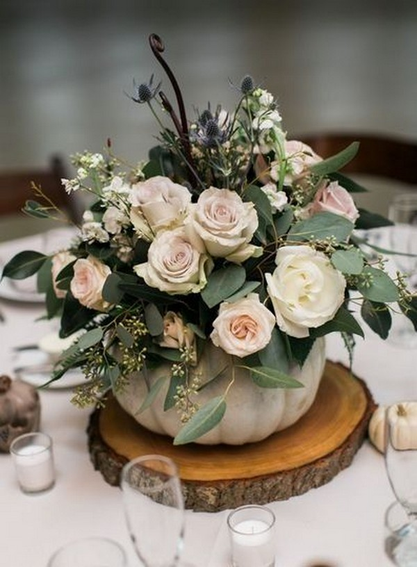 chic rustic fall wedding centerpiece with pumpkin