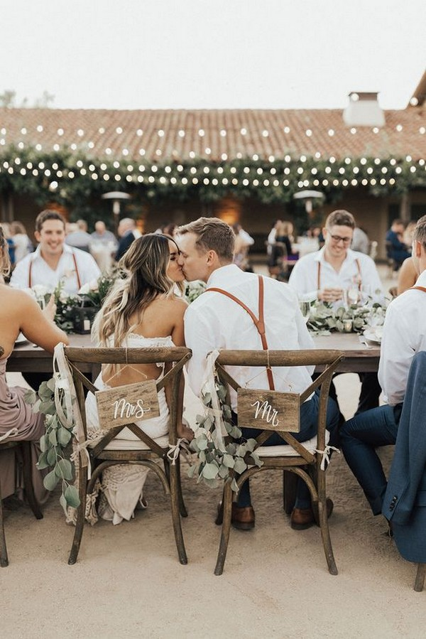 chic rustic mr and mrs wedding chairs