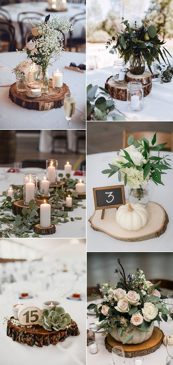chic rustic wedding centerpiece ideas with tree stumps