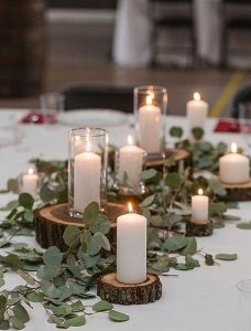 chic simple rustic wedding centerpiece with candles