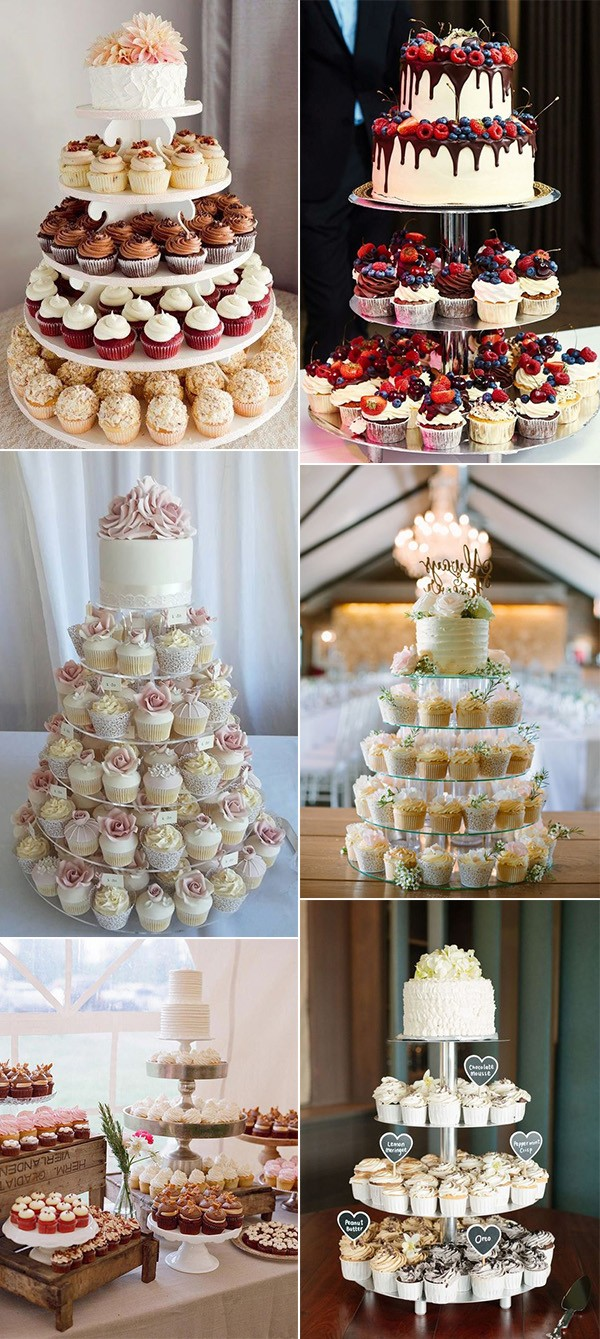 chic vintage wedding cake ideas with cupcakes