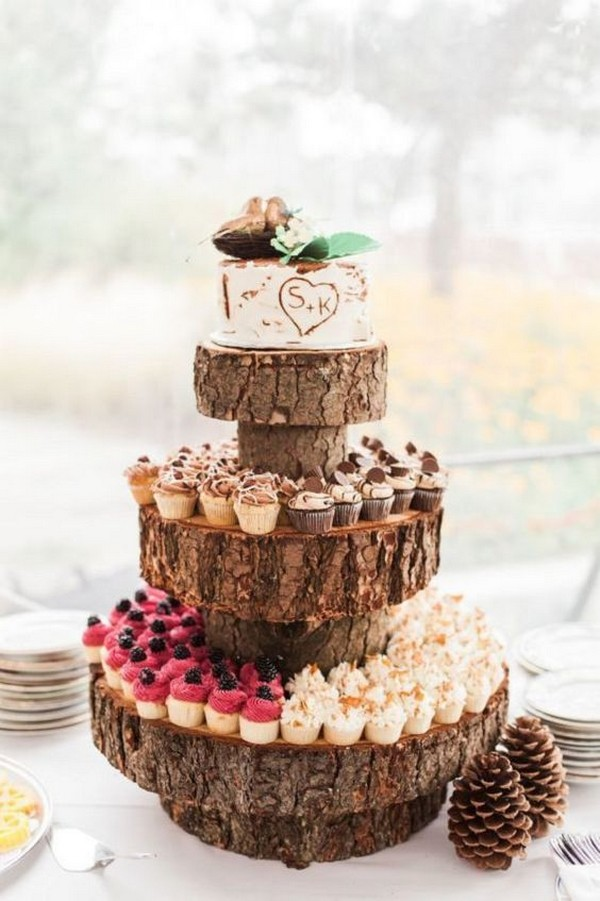 country rustic wedding cake ideas with cupcakes