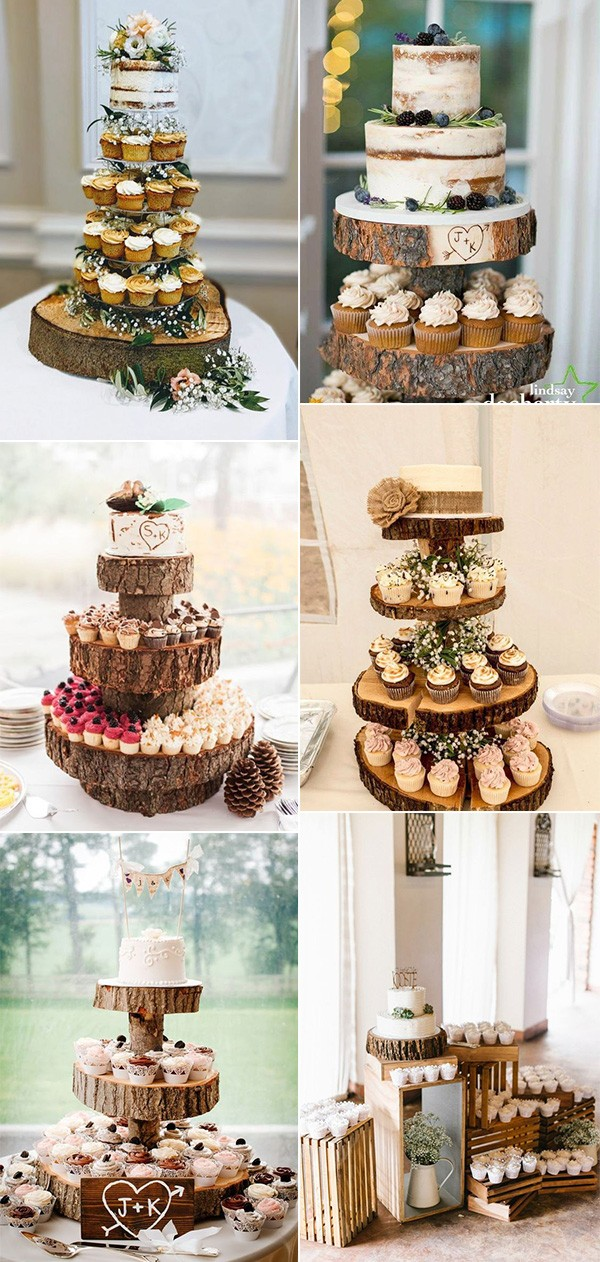 country rustic wedding cakes with cupcakes