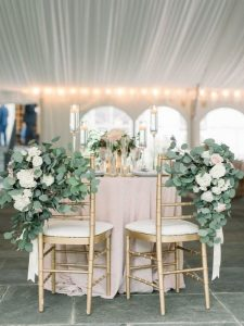 elegant bride and groom wedding chairs