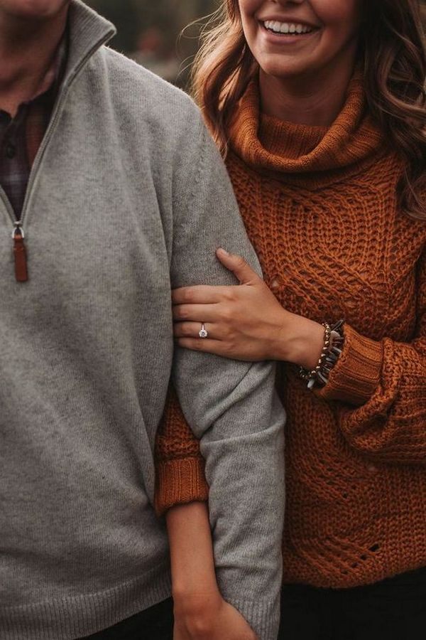 fall wedding engagement photo ideas with ring shot
