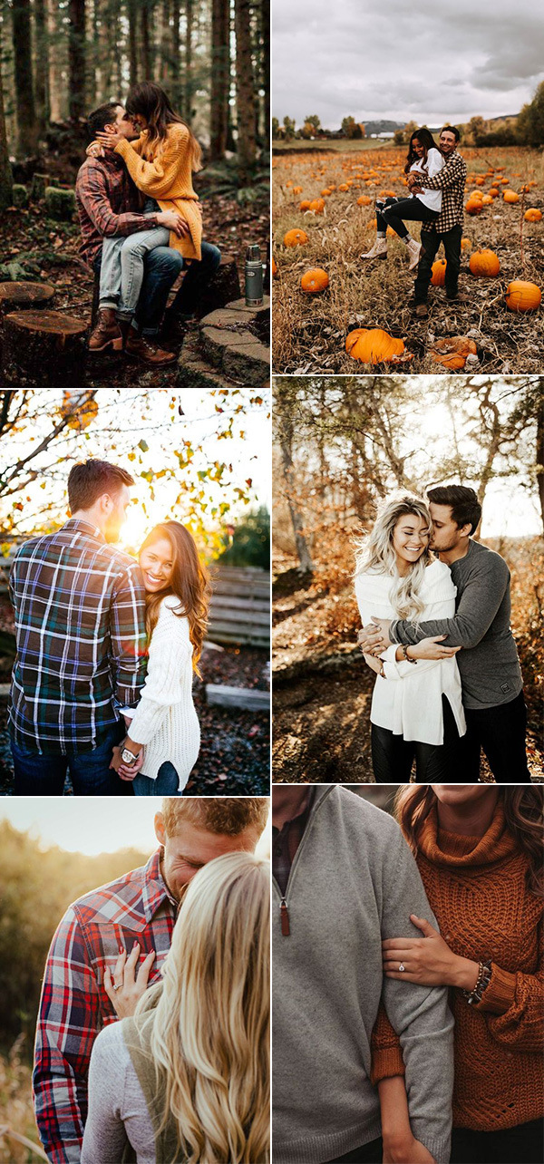 fall wedding engagement photos