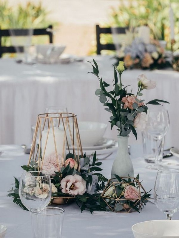 geometric fall wedding centerpiece ideas