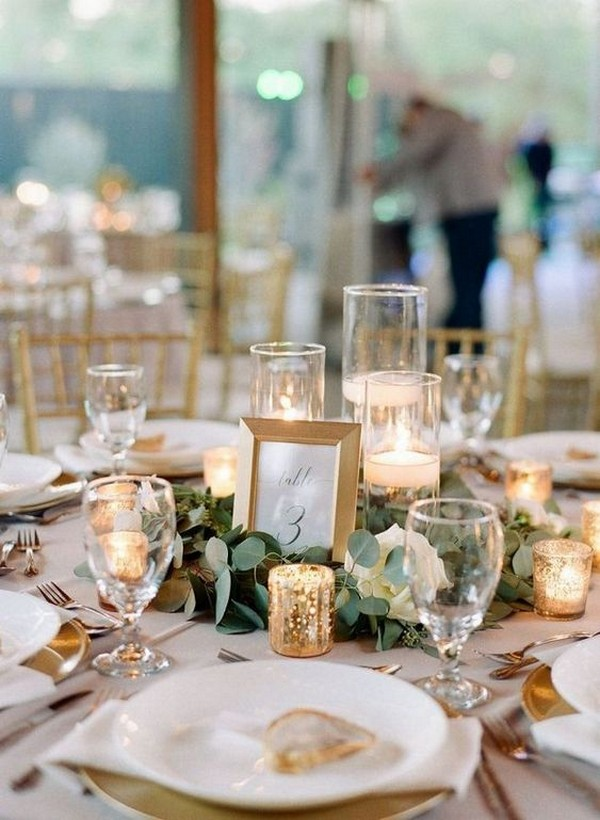 gold and green fall wedding centerpiece ideas