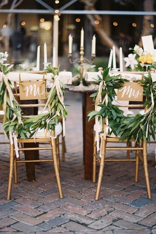 greenery wreath signs wedding chair decoration ideas