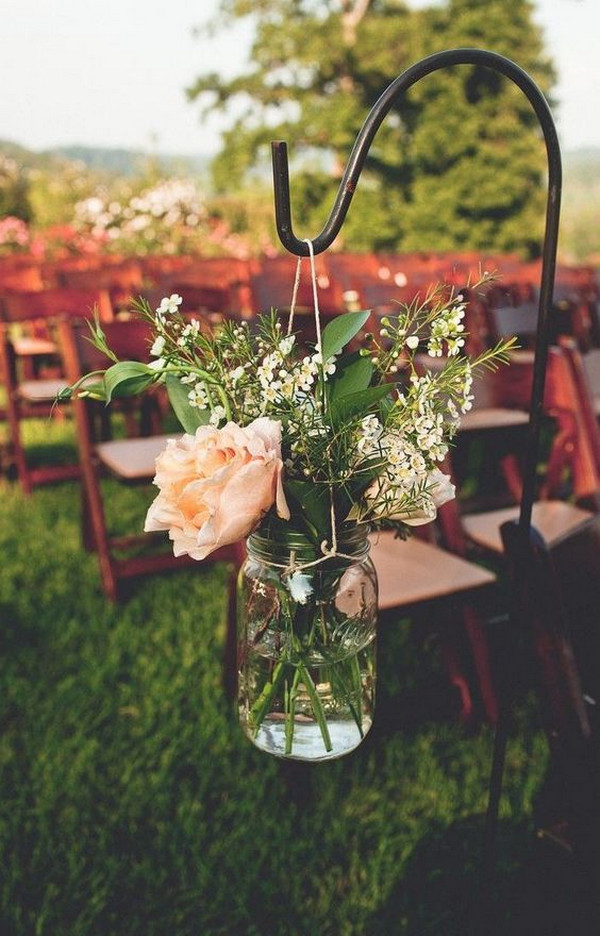 mason jars wedding aisle decoration ideas