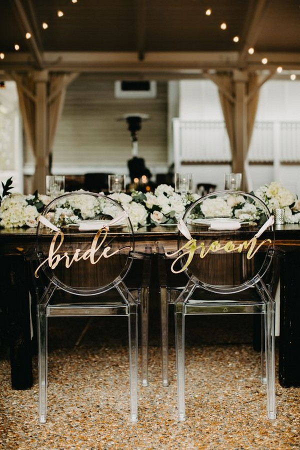 modern bride and groom wedding chairs