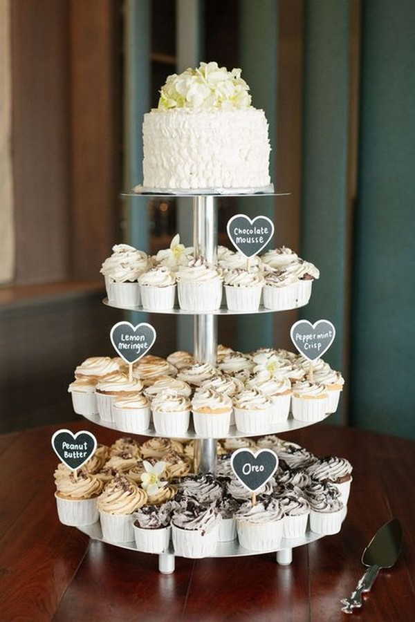 modern simple wedding cake with cupcakes