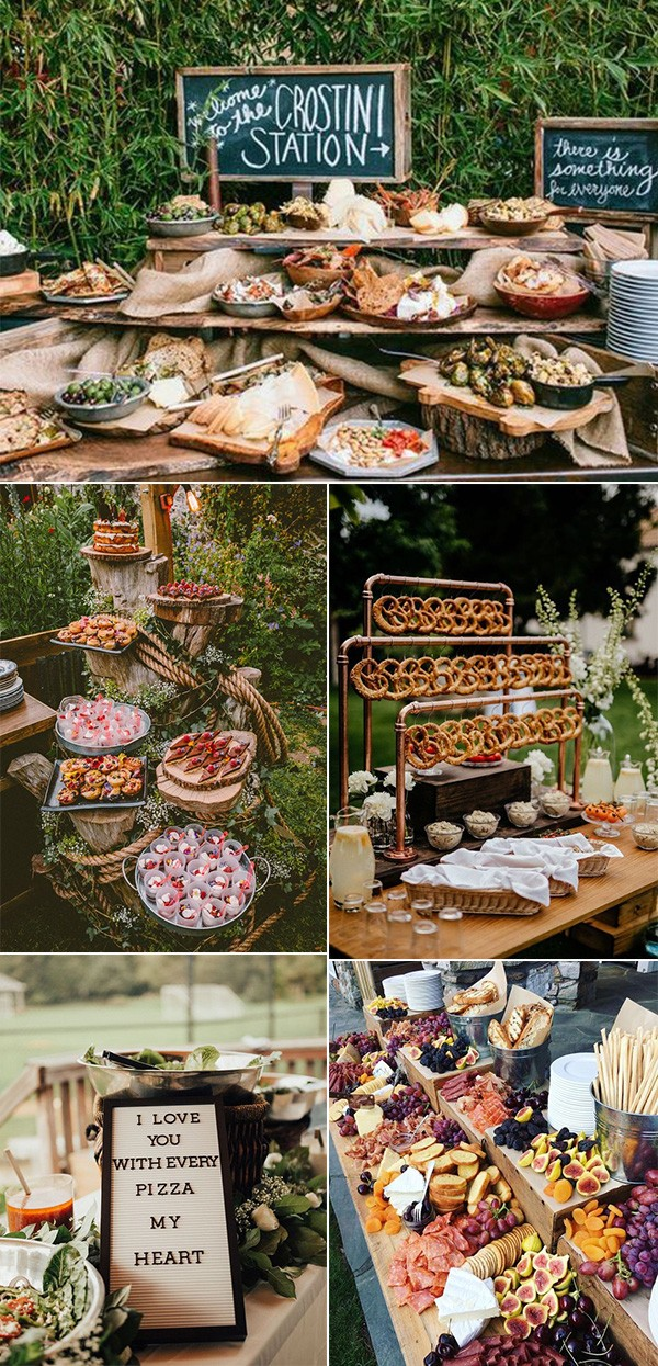 outdoor chic wedding food station ideas