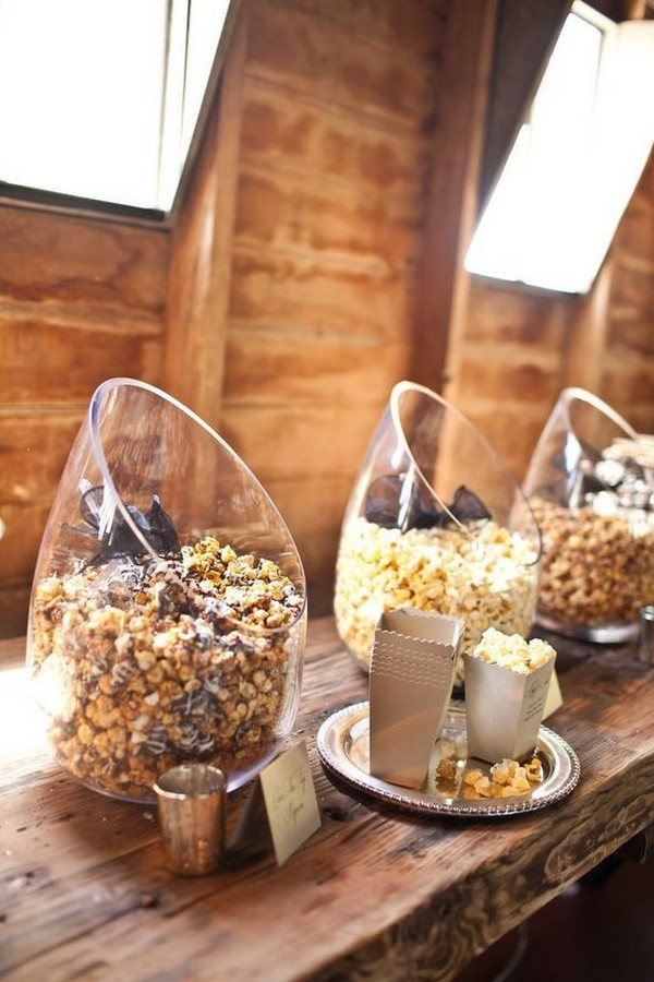 popcorn bar wedding food station ideas