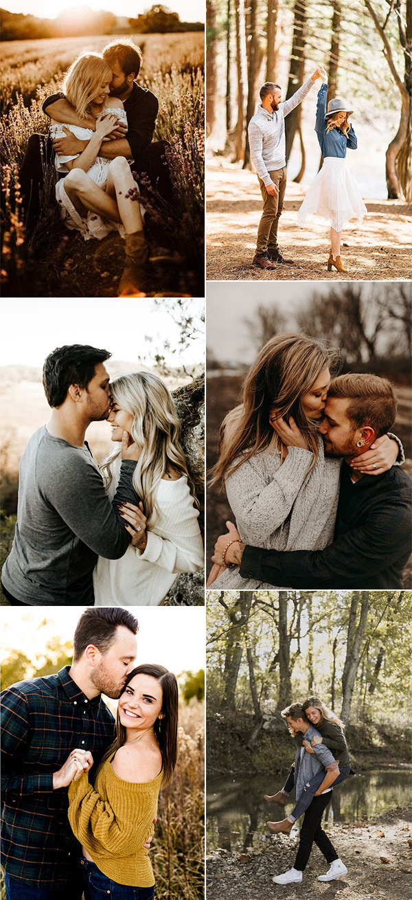 romantic wedding engagement photos for fall