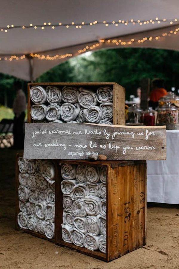 rustic backyard wedding favor ideas to keep guests warm