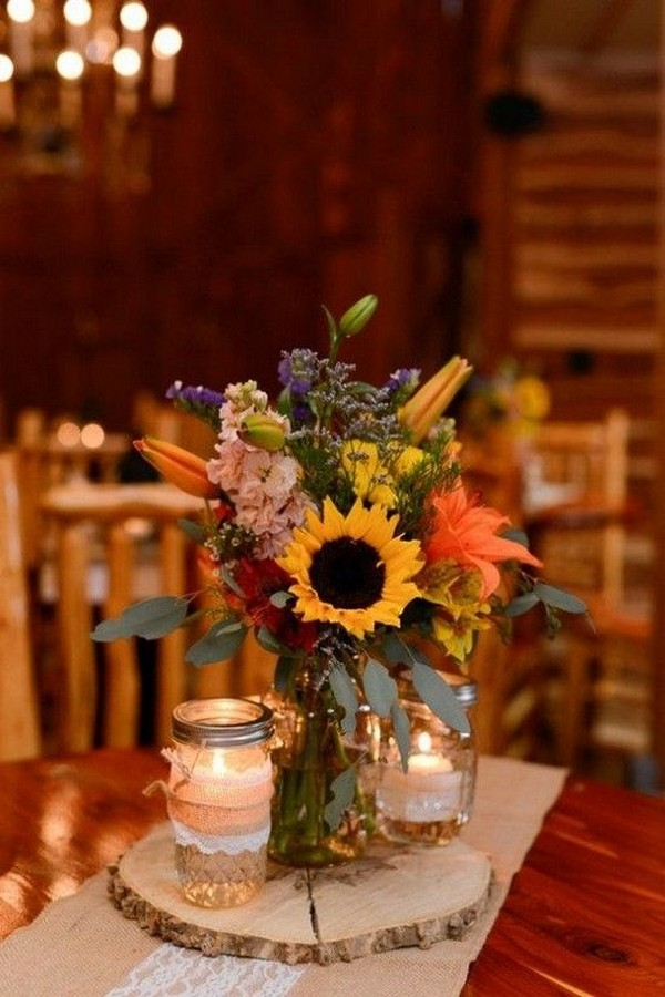 rustic fall wedding centerpiece with sunflowers