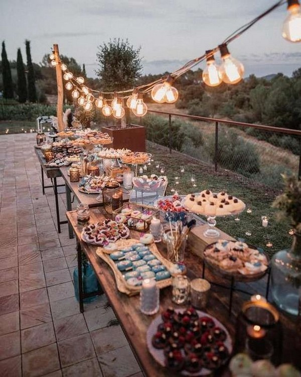 rustic outdoor wedding food bar