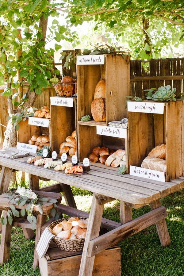 rustic outdoor wedding food station ideas